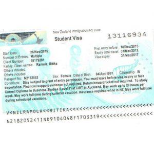 Ritika - New Zealand Visa